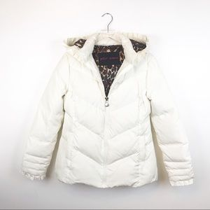 Betsy Johnson | White Leopard Down Puffer Coat L